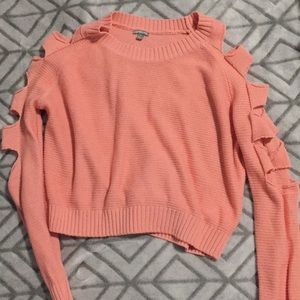 5 for $20 - Pink cut out sleeve crop sweater